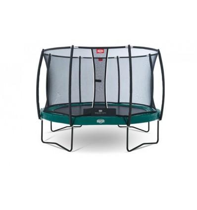 BERG Trampolin 380cm Elite+ i grøn inkl. sikkerhedsnet T-Serie